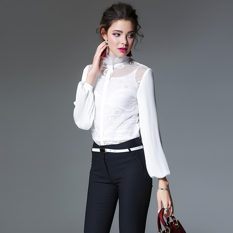 Blanc Sexy Élégant 2018 Mesh Printemps Broderie Volants Lanterne Manches À Formelle Bureau Femmes Chemisier Vintage Blusas Sheer Top Chemises hdstrCxQ