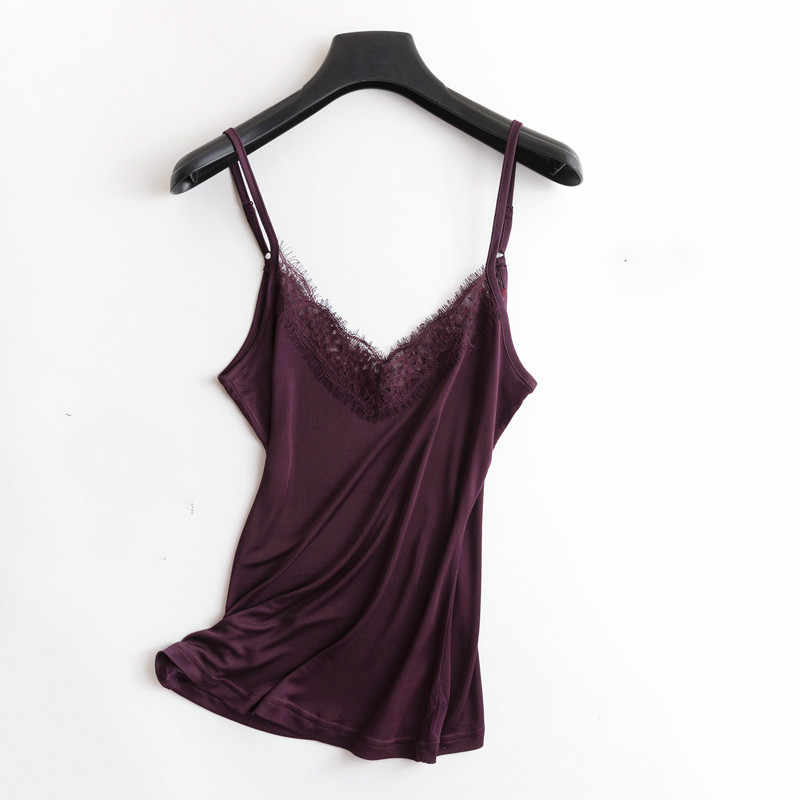Spring and summer V neck lace ruffles silk camisole female short spaghetti strape undershirt loose plus size solid tank top