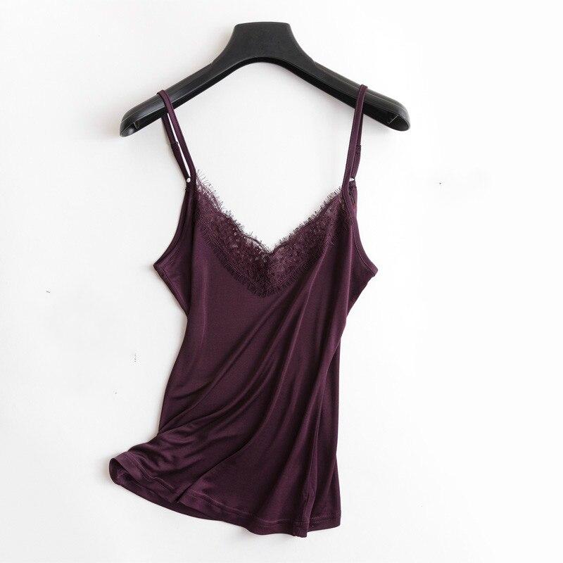 ac7ff965c Primavera y verano cuello en V encaje volantes camisola de seda ...