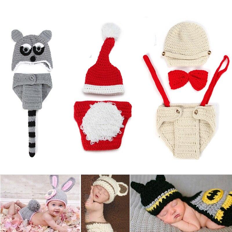 2015 trajes de ganchillo nacidos Bebes fotografía proposición de Halloween navidad niño tapa de la muchacha