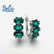 купить Bolaijewelry,Created green emerald clasp earring 925 sterling silver fine jewelry for women best gift по цене 1976.73 рублей