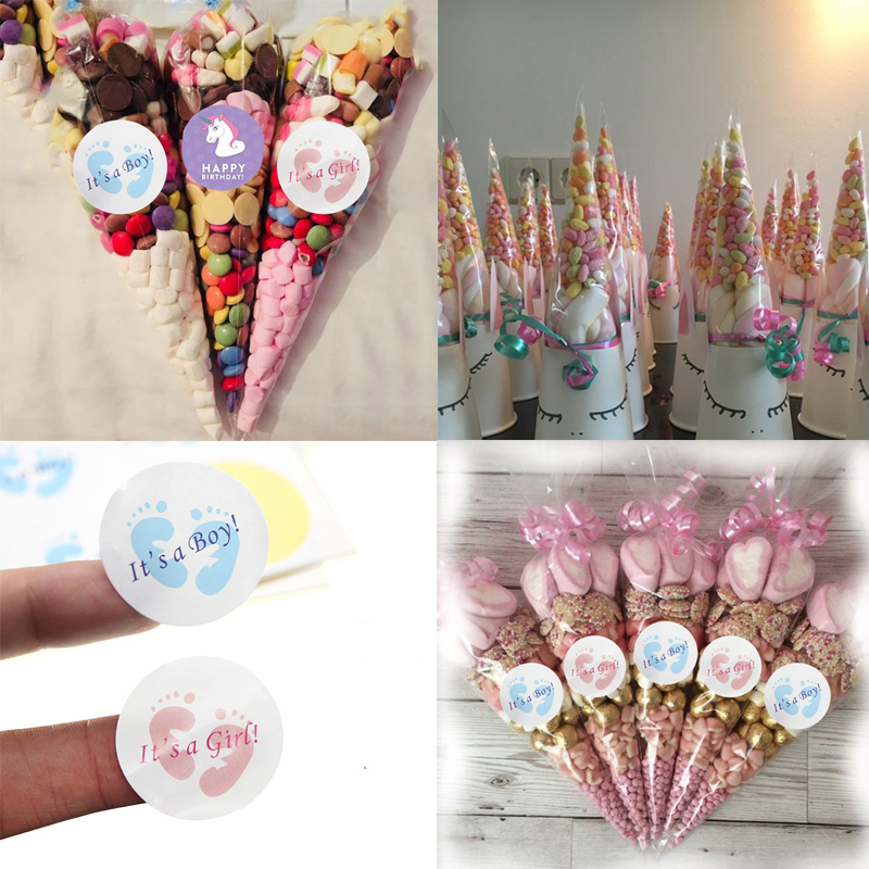 Large Cone Bags Cello Bags BABY SHOWER Sweets Party Bags