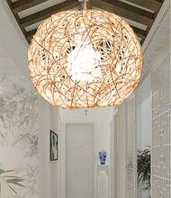Ручной светодиодный e27 простой бежевый ротанговый шар подвесной