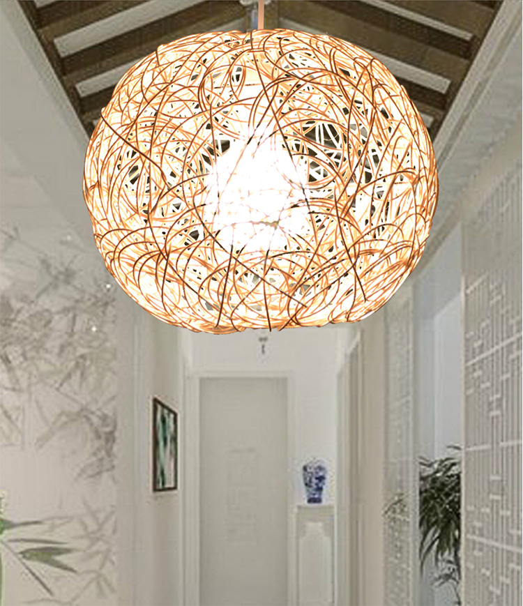 half off e5005 4cc52 US $40.0 20% OFF|Hand Woven LED E27 Simple Beige Rattan Ball Pendant Light  Natural Suspension Droplight Lighting Fixtures for Home Restaurant Bar-in  ...
