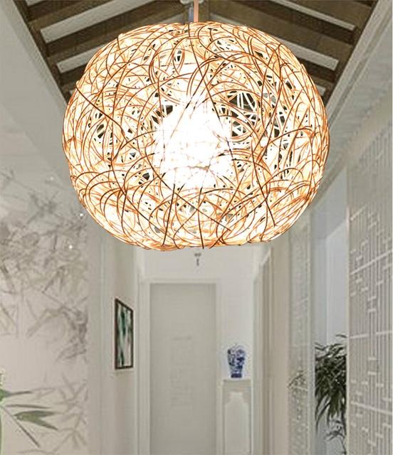 Main Tissé LED E27 Simple Beige Rotin Pendentif Boule de Lumi¨re Naturel Suspension Droplight éclairage Luminaires pour La Maison Restaurant Bar
