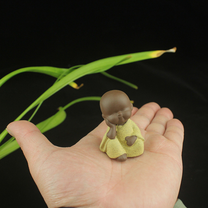 Ceramic Ornaments Monk Sculptures Home Crafts Decor Succulents Flower Pot Monk Figurine Tea Ceremony Small Buddha Atatue