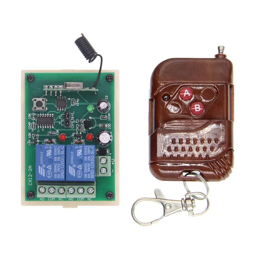 DC 12V 24V 2 CH 2CH RF Wireless Remote Control Switch System,315/433.92 MHZ Transmitter And Receiver dc 12v 2ch 2 channel wireless rf remote control switch 3 transmitter and 1 receiver for wireless system 3312