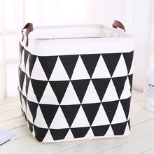 2019 New Organizer Creative Lattice Storage Box Folding Storage Basket Cotton Linen Art Plus Size Toy Laundry Basket Organizador