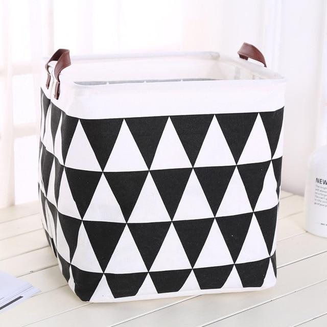 2019 New Organizer Creative Lattice Storage Box Folding Storage Basket Cotton Linen Art Plus Size Toy Laundry Basket Organizador