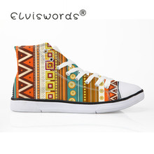 ELVISWORDS New African Design Canvas Shoe Women Flats calzado mujer Female Vulcanize Shoes for Teenager Girls Sports Sneakers