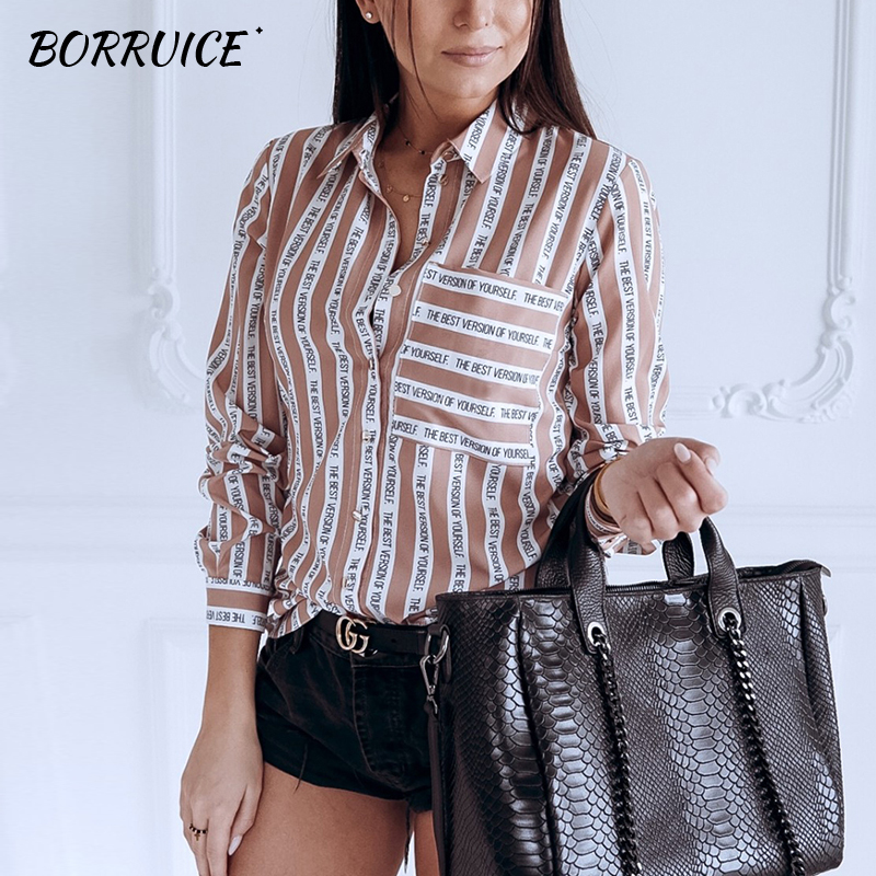 BORRUICE 2019 Women   Blouse     Shirt   Long Sleeve Turn-down Collar Letter Stripe Print Casual   Blouses   Ladies Streetwear   Shirts   Tops