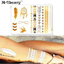 M-theory Metallic Gold Temporary Tattoos Body Arts Flash Tatoos Sticker 21x15cm Waterproof Bikini Swimsuit Makeup Tools