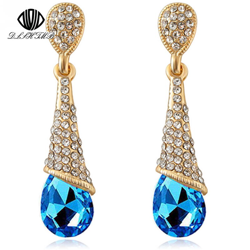 DLSHTMB Austria Panjang Anting Kristal Biru Colorful Fancy Water Drop Earrings Anting Perhiasan untuk Wanita Elegan E75