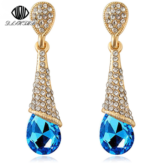 Dlshtmb Austrian Long Blue Crystal Earrings Colorful Fancy Water Drop Elegant Jewelry For Women