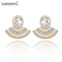 Teemi New Unique Noble Brincos Jewelry High Quality White Champagne Gold Plated Tiny Shining Crystals CZ