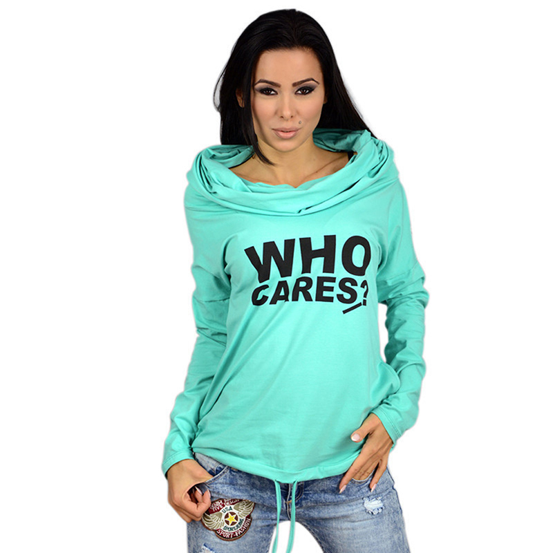 Female Women Hoody Spring Autumn Long Sleeve Thin Casual Sweatshirts WHO CARES Letter Print Hoodies 4 Color Hot Sale New Fashion