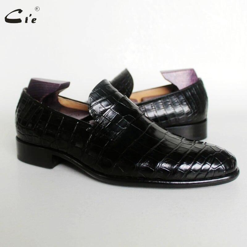 cie round toe penny calf leather embossed crocodile design black light boat shoe handmade blake breathable