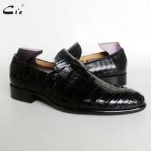 Cie yuvarlak ayak kuruş buzağı deri kabartmalı timsah tasarım siyah ışık tekne ayakkabı el yapımı blake nefes erkek deri loafer173