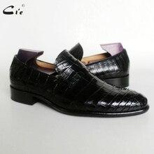 Cie עגול הבוהן אגורה עגל עור בולט תנין עיצוב שחור אור סירת נעל בעבודת יד בלייק לנשימה גברים עור loafer173