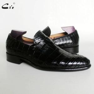 Image 1 - Cie עגול הבוהן אגורה עגל עור בולט תנין עיצוב שחור אור סירת נעל בעבודת יד בלייק לנשימה גברים עור loafer173
