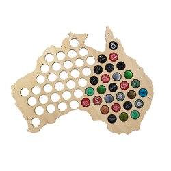 Australia wiszące drewniane mapa kreatywny piwa Cap mapa prezent na ścianę dla Cap Collector nowoczesny Design akcesoria do dekoracji domu w Ozdobne tablice od Dom i ogród na
