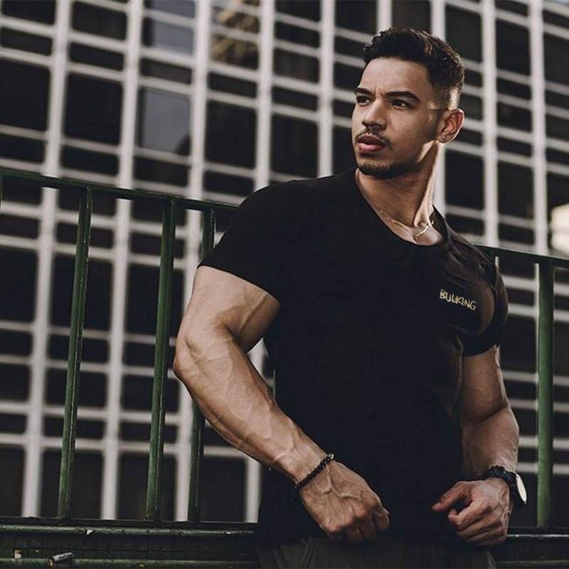 YEMEKE New Men Short Sleeve Cotton t-shirt Summer Casual Fashion Gyms Fitness Bodybuilding T shirt Male Slim Tees Tops Clothing 3