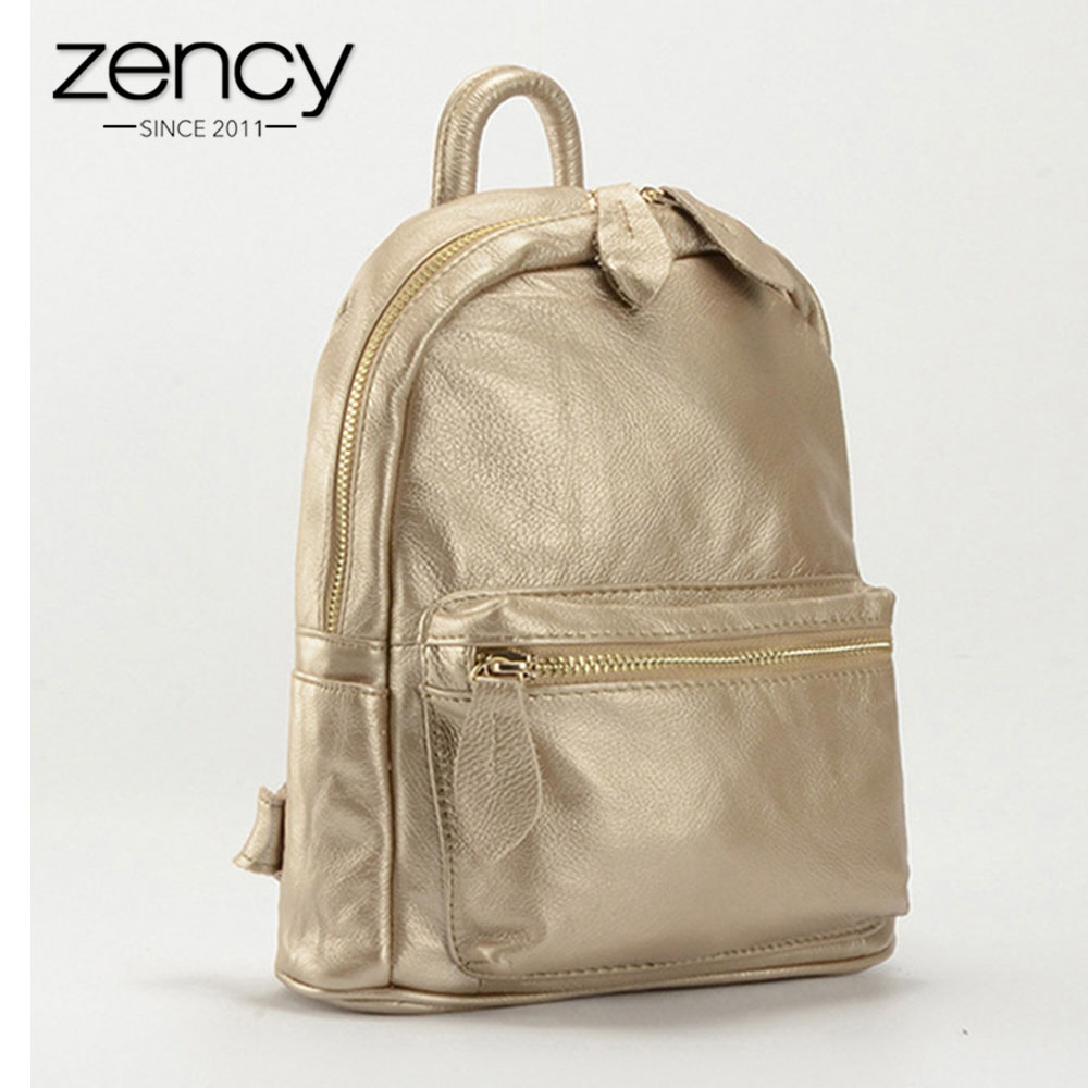 Zency New Design 100% Genuine Leather Women Backpack Preppy Style Schoolbag For Girls Ladies Travel Bag Bronze Knapsack Holiday zency 2017 new 100