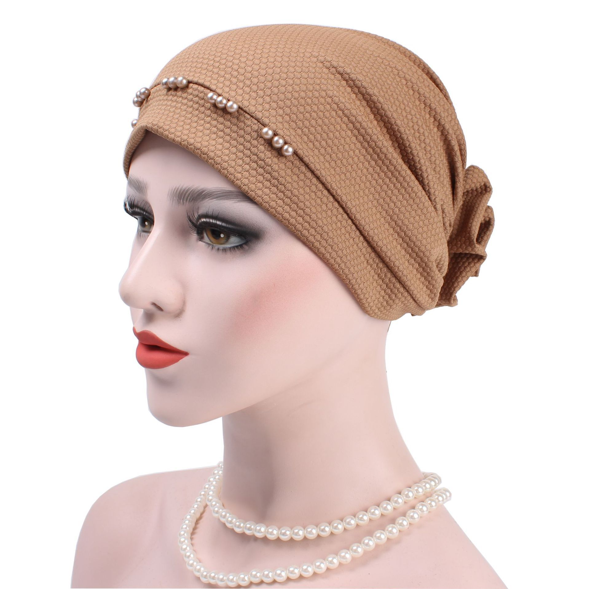 Women Flower Muslim Beanies Hats Pearl Turban Accessory Bandana Hair Cover Chemotherapy Hats