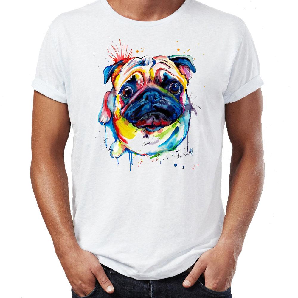 百思买 ) }}Pug Water Colour Arter Dog Cute Mens Unisex T Shirt Men