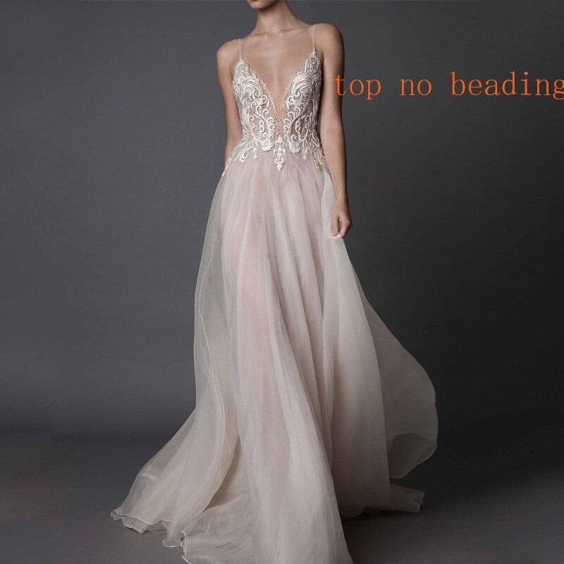 Deep V-neck Tulle Open Back A-line Wedding Dress