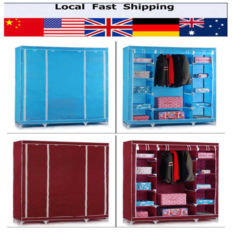 Elegant Large Wardrobe Closet Steel Tubes Canvas Scroll Closet Furniture Simple  Folding Reinforcement Clothes Store(Hong