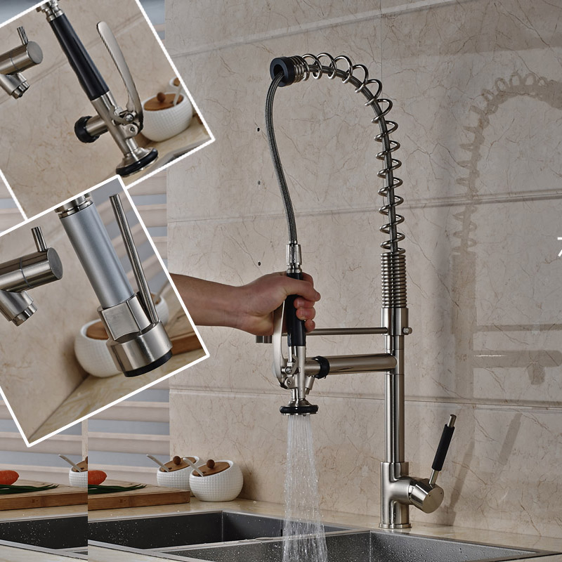 ≧Brushed Nickel 75cm Pull Down Side Spout Kitchen Faucet Single ...