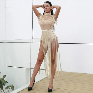 Image 2 - High Neck Sleeveless Lace Tassel Jumpsuit Nightclub Dress Stage Clothes For Singers Celebrity Dresses Birthday Outfits DNV10971