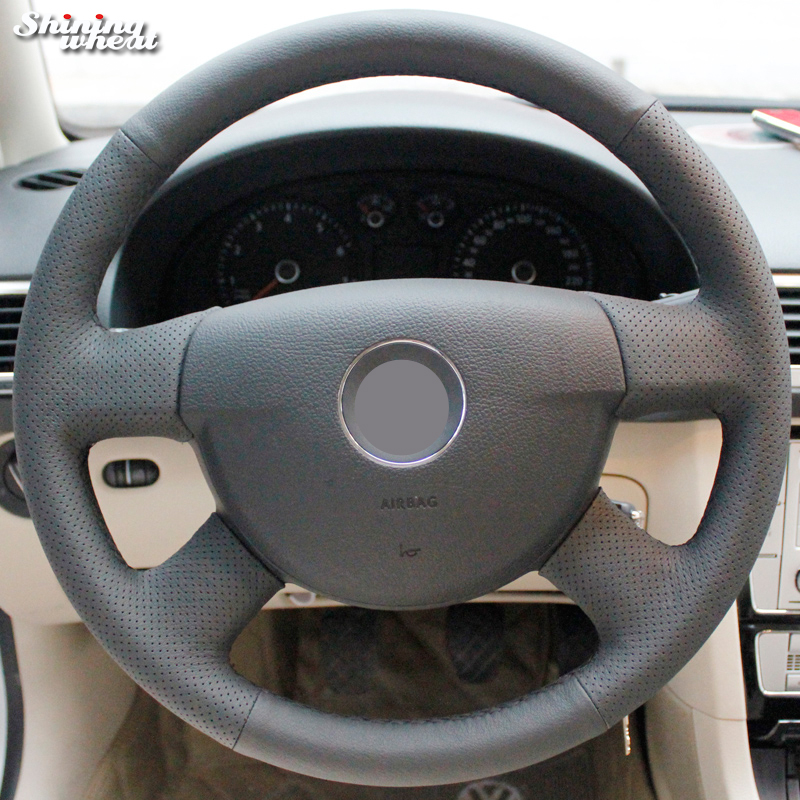 Shining wheat Black Genuine Leather Steering Wheel Cover for Volkswagen VW Passat B6