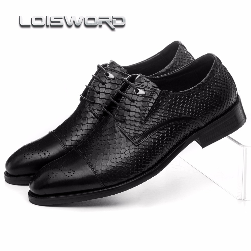 LOISWORD Large size EUR45 serpentine black oxfords mens business shoes genuine leather dress shoes mens wedding shoes top quality crocodile grain black oxfords mens dress shoes genuine leather business shoes mens formal wedding shoes