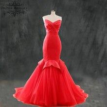 hochzeit Simple Elegant Pleat Fishtail Red Wedding Dress