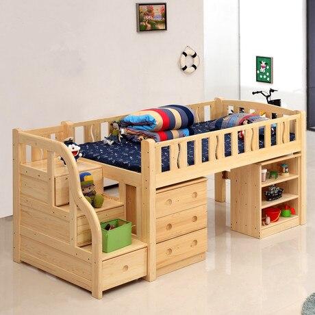 US $8999.99 10% di SCONTO|Letti per bambini Mobili Per Bambini letti in  legno massello 120 cm bambini bambino letto chambre bebe letto a castello  con ...