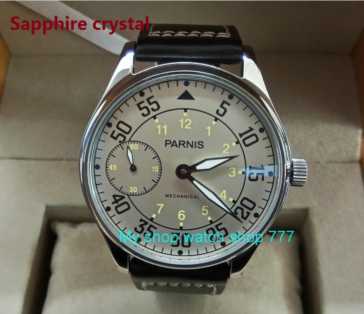 Sapphire Crystal 44mm PARNIS Milk white dial Asian 17 jewels 6497/3600 Mechanical Hand Wind movement men