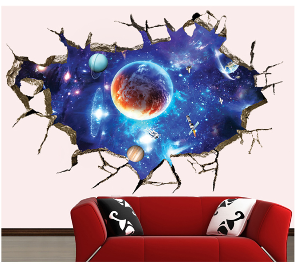 Outer Space 3D Wall Sticker Cosmic Galaxy Wall Decals for Kids Room Floor Decoration Blue Sky Ceiling Stickers wallpaper
