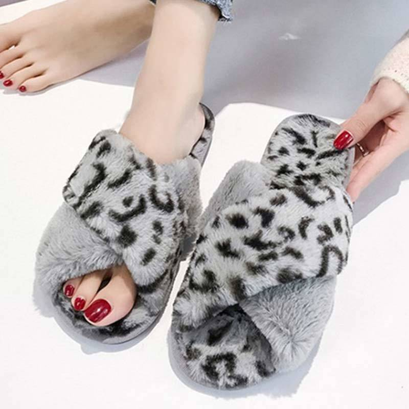 Winter Fur Slides Women Slippers Warm Flip Flops Leopard Fluffy Slippers Soft Flat Funny Home Indoor Shoes 2019