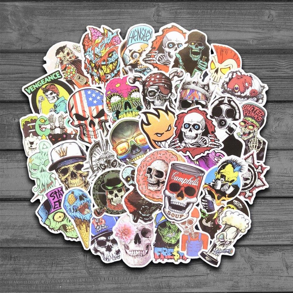 50 Pcs Reggae Punk Zombie Skull Skateboard Snowboard Stickers Doodle Decals Luggage Laptop Car Styling Bike Waterproof Sticker