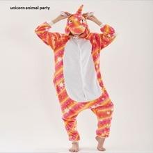 Kigurumi Onesies Cosplay Winter Orange stars Flannel Adults Pajamas Unisex Animal Sleepwear  Costumes Halloween Christmas Party