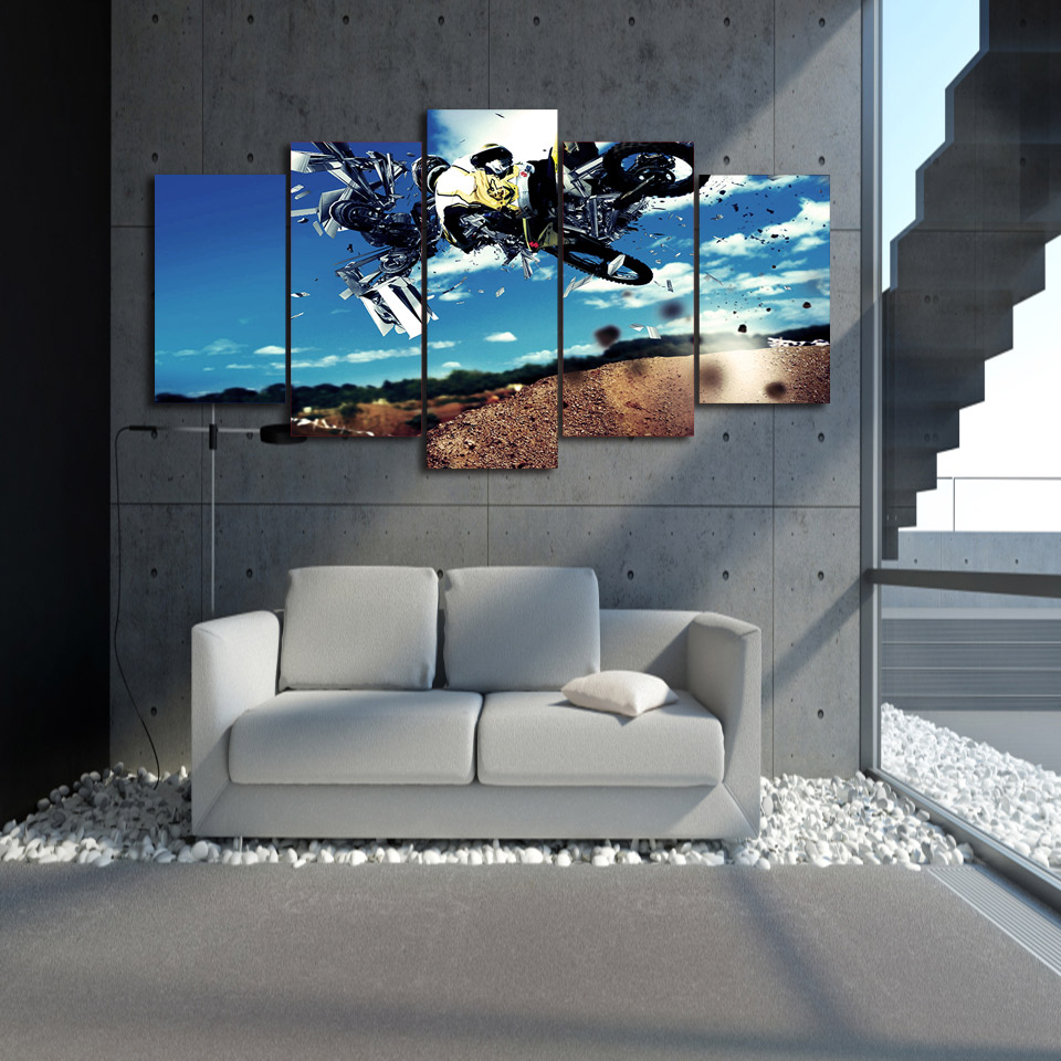 Promotion Motocross Painting HD Printed 5 Pieces Poster Room Decor Modular  Pictures for Living Room Free. Online Get Cheap Motocross Live  Aliexpress com   Alibaba Group