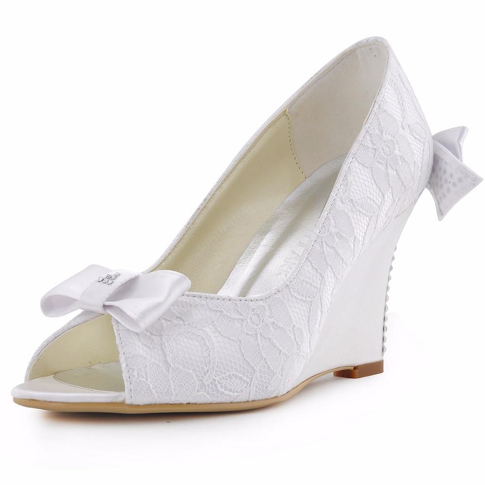 ivory wedge wedding shoes