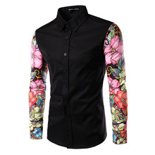 New Arrival Man Casual Shirts Fashion Long Sleeve Brand Printing stitching Male Formal Business Men Dress Shirt