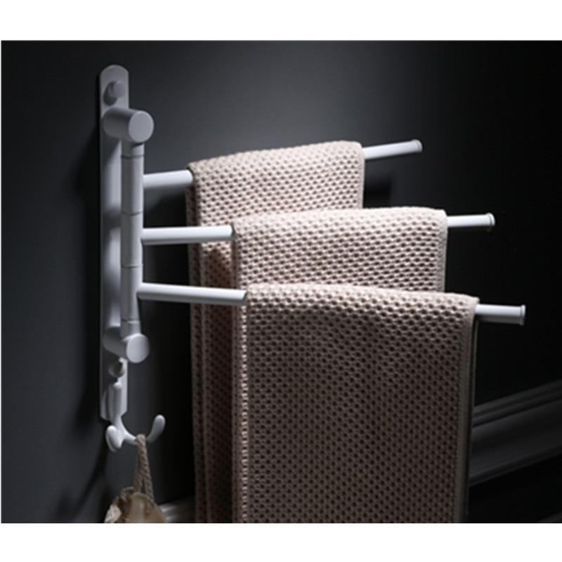 Bathroom Wall Mount Swivel Towel Bar stainless steel white Towel Rack Holder цена