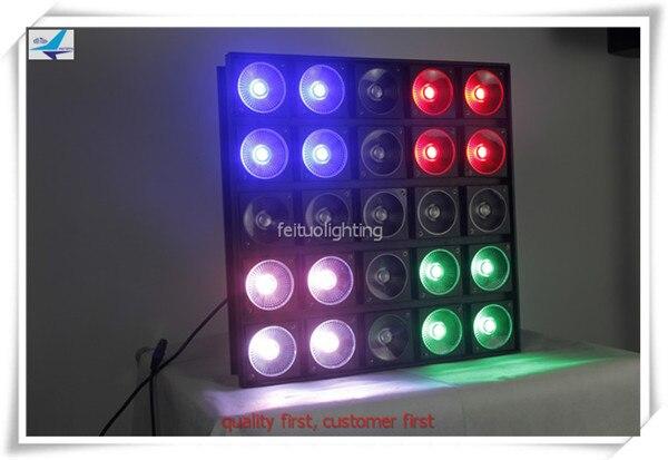 free shipping 2pcs/lot 25X30W Matrix COB RGB Color Blinder Light 5x5 Led Bar DMX Stage Effect Power Pattern Change DJ Lighting show plaza light stage blinder auditoria light ww plus cw 2in1 cob lamp 200w spliced type for stage