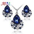 Novo Azul Moda Áustria Brincos de Cristal Colar de Prata Banhado A Mulheres Noivas Conjuntos de Jóias Strass Casamento Romântico Clássico