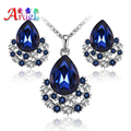 Nuevo Azul de La Manera Pendientes De Cristal de Austria Collar Plateado Mujeres Nupcial Rhinestone Romántico Clásico de La Boda Sistemas de La Joyería