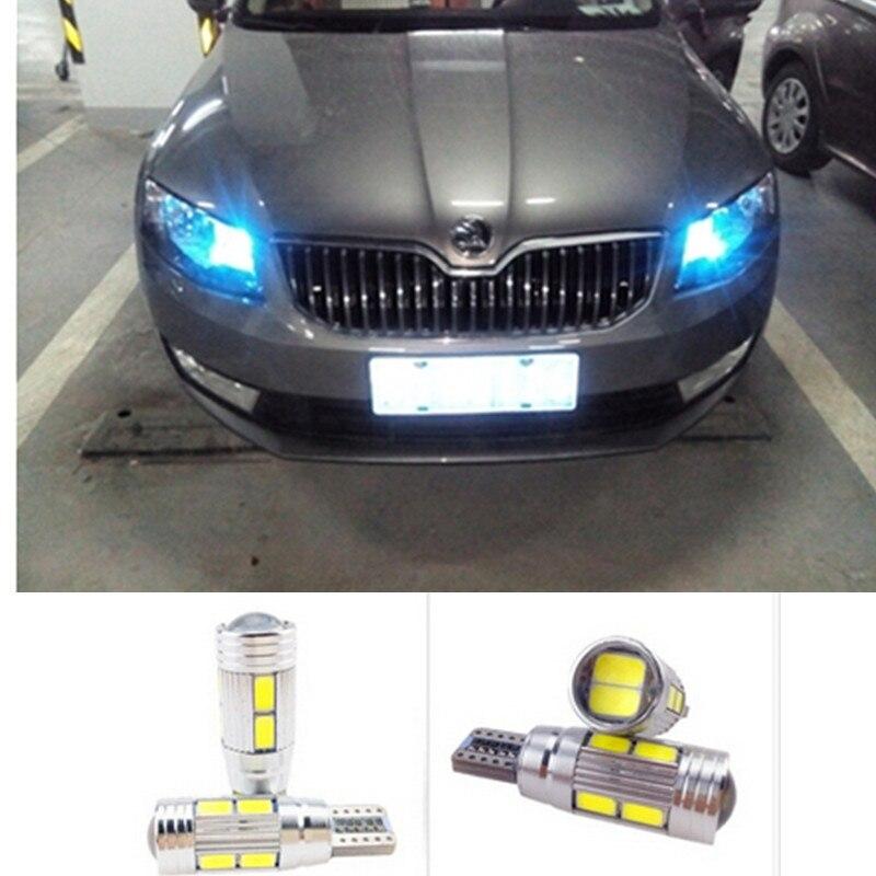 t10 led w5w car led auto lamp light bulbs with projector lens for skoda octavia rapid fabia yeti. Black Bedroom Furniture Sets. Home Design Ideas